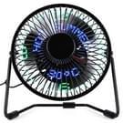 UF-240-05 & 07 bureaublad draagbare multifunctionele LED metaal USB oplaadbare klok Fan  2 bereiken snelheid Modes(Black)