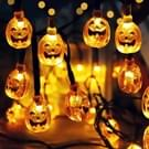 7.5 M 30 LED zonne-energie pompoen String Lights Halloween Party oranje kleur Monster pompoen lampen decoratie String Lights