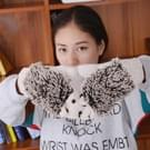Winter Lovely Cartoon muis breien Lady wanten Warm Cartoon Hedgepig Full Finger Gloves(White)