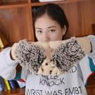 Winter Lovely Cartoon muis breien Lady wanten Warm Cartoon Hedgepig Full Finger Gloves(Apricot)
