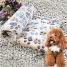 Hond Kennel Mat voetafdrukken patroon dikke warme koraal Fleece huisdier hond dekens  grootte: L  80*100cm(Coffee)