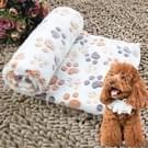 Hond Kennel Mat voetafdrukken patroon dikke warme koraal Fleece huisdier hond dekens  grootte: L  80*100cm(Beige)