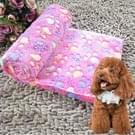 Hond Kennel Mat voetafdrukken patroon dikke warme koraal Fleece huisdier hond dekens  grootte: L  80*100cm(Magenta)
