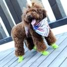 Mooie hond schoenen Puppy Candy Color Rubber laarzen waterdichte regen schoenen  L  maat: 5.7 x 4.7cm(Black)