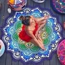 Microfiber kleurrijke gedrukte kwast Lotus zomer Bad handdoek zand strand handdoek omslagdoek sjaal  maat: 150 x 150cm (donker blauw + groen)