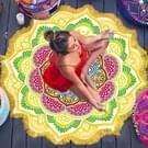 Microfiber kleurrijke gedrukte kwast Lotus zomer Bad handdoek zand strand handdoek omslagdoek sjaal  maat: 150 x 150cm(Yellow+Green)
