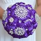 Parel diamant te houden bruiloft bloemen bruids boeket accessoires bruidsmeisje Rhinestone partij bruiloft decoratie benodigdheden  Diameter: 20cm(Purple)