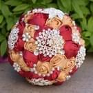 Parel diamant te houden bruiloft bloemen bruids boeket accessoires bruidsmeisje Rhinestone partij bruiloft decoratie benodigdheden  Diameter: 20cm(Red)