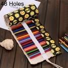 48 slots QQ Emoji Print Pen tas Canvas potlood Wrap gordijn oprolbare potlood zaak briefpapier Pouch