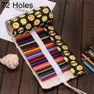 72 slots QQ Emoji Print Pen tas Canvas potlood Wrap gordijn oprolbare potlood zaak briefpapier Pouch