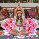 Veelhoek prachtig kwast Lotus zomer Bad handdoek zand strand handdoek omslagdoek sjaal Yoga Mat  maat: 150 x 150cm(Pink)