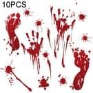 10 stuks Halloween decoraties PVC Creative bloed handafdrukken en voetafdrukken muur Stickers Raamstickers  willekeurige stijl-levering