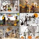 3 PCS halloweenversieringen PVC gepersonaliseerde DIY glas elektrostatische Stickers  willekeurige stijl-levering