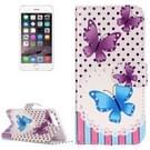 iPhone 7 Plus & 8 Plus horizontaal Blauw paars vlinders patroon stijlvol PU leren Flip Hoesje met houder en opbergruimte voor pinpassen & geld
