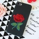 Zwarte achtergrond borduurwerk Blooming Rose patroon PU zacht beschermhoes voor iPhone 8 & 7