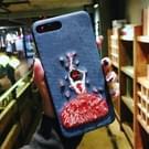 Voor iPhone 8 Plus & 7 Plus borduurwerk blauwe Dancing Girl patroon volledige dekking terug beschermhoes