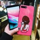 Voor iPhone 8 Plus & 7 Plus borduurwerk Red Cat en meisje patroon volledige dekking terug beschermhoes