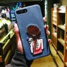 Voor iPhone 8 Plus & 7 Plus borduurwerk blauw Cat en meisje patroon volledige dekking terug beschermhoes