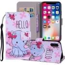Vlinder olifant patroon gekleurde tekening horizontaal spiegelen Leather Case for iPhone XS Max 6.5 inch  met houder & Card Slots & portemonnee & Lanyard