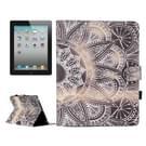 Voor iPad 4 / iPad 3 (nieuwe iPad) / iPad 2 Half bloem patroon horizontale Flip leren Case met houder & Card Slots & portefeuille