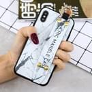 Marmeren patroon Shockproof TPU Case voor iPhone XS Max  met armband & houder (wit)