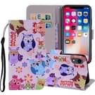 Patroon gekleurde tekening horizontaal flip lederen hoes for iPhone XR  met houder & Card Slots & portemonnee & Lanyard