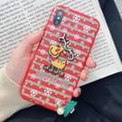 Kerstmis Elk Paster patroon TPU Case voor iPhone XS / X  met hanger