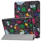 Huawei MediaPad M3 Lite 10 kleur veelhoekige patroon horizontale vervorming Flip lederen draagtas met drie-vouwen houder & slaap / Wake-up