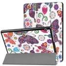 Huawei MediaPad T3 10 vlinder patroon horizontale vervorming Flip lederen draagtas met drie-vouwen houder