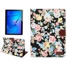 Voor Huawei MediaPad M3 Lite 10 inch bloem patroon doek oppervlak PC horizontale Flip leren beschermhoes met houder & Card Slots & portemonnee & Photo Frame (zwart)