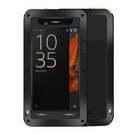 Sony Xperia XZ Stofdicht shockproof anti-slip metalen + siliconen LOVE MEI Hoesje (zwart)