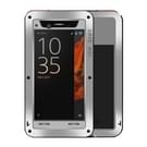 Sony Xperia XZ Stofdicht shockproof anti-slip metalen + siliconen LOVE MEI Hoesje (zilverkleurig)