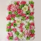Groen en Wit bloeiende Rose Peony Hydrangea kunstmatige codering bloem DIY bruiloft muur decoratie Foto-achterwand  grootte: 60 x 40 cm