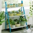Bamboe 3-tier opknoping plant stand planter planken bloem pot opslag rek vouwen display rekken planten plat  breedte: 70cm (blauw)
