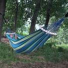Buiten Rollover-resistente Single persoon Canvas hangmat Portable strand schommel Bed met houten stokken  maat: 200 x 80cm (blauw)