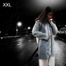 Modieuze eenvoudige mannelijke en vrouwelijke studenten één transparante matte regenjas (Wit XXL)