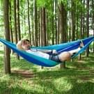 Draagbare buiten parachute hangmat met klamboes (donkerblauw + baby blauw)