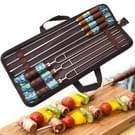 Buiten picknick RVS BBQ-bak naald Barbecue vork U-vormige milieu houten handvat 7 delige Set