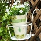 2 PC'S ijzeren metalen reling ingegoten plant planken opknoping bloempot rack (wit)