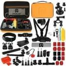 PULUZ 53 in 1 accessoires Total ultieme Combo Kits met oranje EVA geval (borstband + zuignap Mount 3-weg Pivot wapens + J-Hook gesp + polsband + helm Strap + uitschuifbare Monopod + oppervlakte Mounts + statief Adapters + tas + stuurhouder) voor GoPro  Go