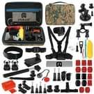 PULUZ 53 in 1 accessoires Total ultieme Combo Kits met Camouflage EVA geval (borstband + zuignap Mount 3-weg Pivot wapens + J-Hook gesp + polsband + helm Strap + uitschuifbare Monopod + oppervlakte Mounts + statief Adapters + tas + stuurhouder) voor GoPro