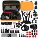 PULUZ 45 in 1 accessoires ultieme Combo Kits met oranje EVA geval (borstband + zuignap Mount 3-weg Pivot wapens + J-Hook gesp + polsband + helm Strap + oppervlakte Mounts + statief Adapter + tas + stuurhouder + moersleutel) voor GoPro nieuwe held /HERO6 /