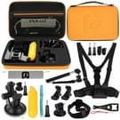 PULUZ 20 in 1 accessoires Combo Kits met oranje EVA geval (borstband + hoofd riem zuignap Mount + 3-weg zwenkarm + J-Hook gespen + uitschuifbare Monopod + statief Adapter + Bobber handgreep + tas + moersleutel) voor GoPro nieuwe held /HERO6 /5 /5 sessie/4