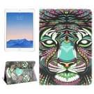 Tijger patroon lederen hoesje met houder & opbergruimte voor pinpassen & portemonnee voor iPad Air 2 / iPad 6