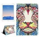 Lion patroon lederen hoesje met houder & opbergruimte voor pinpassen & portemonnee voor iPad Air 2 / iPad 6