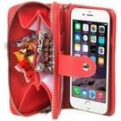 iPhone 6 Plus & 6s Plus Portemonnee stijl met rits en deelbaar PU leren Hoesje met draagriem en opbergruimte voor pinpassen & geld (rood)