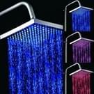 Vierkante Temperatuur Sensor 3-kleur (blauw / roze / rood) LED Showerhead(Silver)