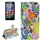 Microsoft Lumia 640 horizontaal Kleurrijk bloemen patroon PU leren Flip Hoesje met houder en opbergruimte voor pinpassen & geld