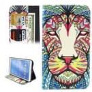 Samsung Galaxy Tab 4 8.0 inch / T330 horizontaal Kleurrijk leeuwenkop patroon PU leren Flip Hoesje met houder en opbergruimte voor pinpassen & geld