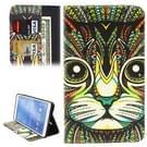 Samsung Galaxy Tab 4 8.0 inch / T330 horizontaal Etnisch poezengezicht patroon PU leren Flip Hoesje met houder en opbergruimte voor pinpassen & geld